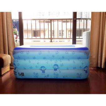 Bể bơi Summer 3 tầng cho bé loại 210cmx145cmx65cm + Tặng bơm điện (Xanh)