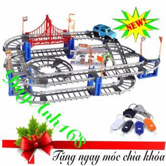 Bộ đồ chơi cao cấp lắp ráp đường ray cho ô tô ,xe lửa chạy phát triển trí thông minh cho bé. + Móc khóa thông minh