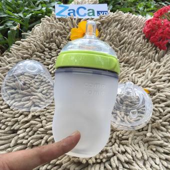 Bộ Bình Sữa Comotomo Silicone 250Ml (Xanh) Và 1 Núm Ti Comoto Size 3