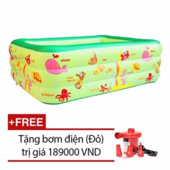 Bể bơi Summer 3 tầng cho bé loại 160cmx125cmx55cm + Tặng bơm điện (Xanh)