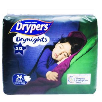 Tã dán đêm Drypers Drynights XXL.24( trên 15 kg) tặng gối trẻ em