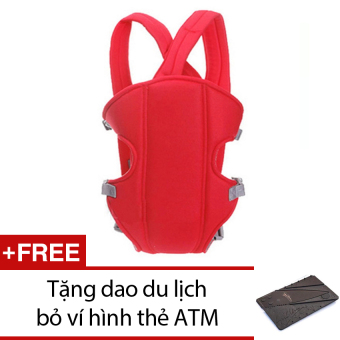 Địu em bé 4 tư thế Giá Tốt (Đỏ) + Tặng 1 dao du lịch bỏ ví hình thẻ ATM (Nâu)