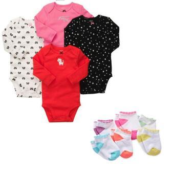 Bộ 4 áo bodysuit dài tay và 6 tất Carter's bé gái
