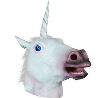Halloween White Unicorn Horse Head Mask Latex for a Crazy Cosplay Party