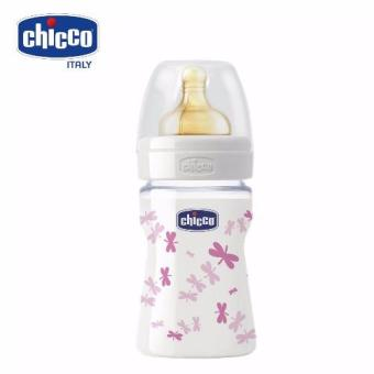 Bình sữa thủy tinh núm cao su Chuồn chuồn hồng 150ml Chicco 08101 (Hồng)