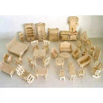 Bộ đồ chơi lắp ghép mô hình nhà gỗ .