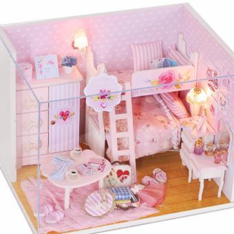 Mô hình nhà gỗ DIY có đèn - Pink Girl
