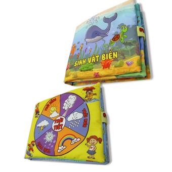 Bộ 2 sách vải cho bé chơi mà học Pipo - Sinh vật biển và thời tiết