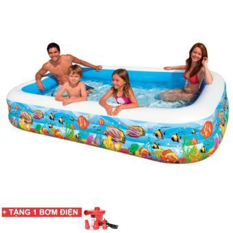 Bể bơi phao cao cấp 210x150x55cm (Xanh)