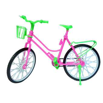 Mini Kid Children Toy Plastic Bike Bicycle with Basket for Barbie Doll Bike Accessories Toy - intl