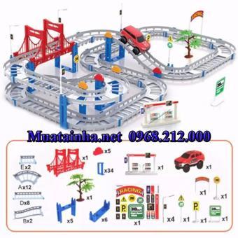 Bộ lắp ráp đường đua ô tô 88 chi tiết (Xám)