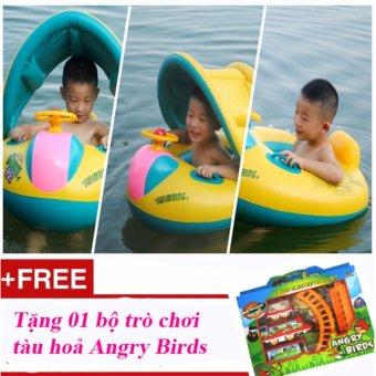 Phao bơi cho bé có mái che nắng Summer Sea + Tặng 01 bộ xếp hình tàu hoả Angry Bird
