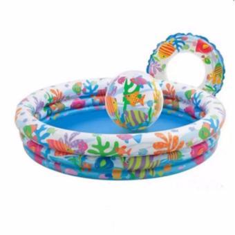 Bể bơi mini bơm hơi 3 tầng tròn có bóng và phao bơi hình cá đáng yêu