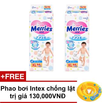 Bộ 2 gói tã dán Merries XL44 + Tặng Phao bơi Intex chống lật trị giá 130,000VNĐ