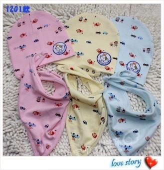 Bộ khăn tam giác yếm và mũ cho bé (Xanh)