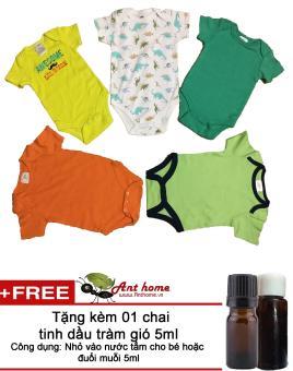 Bộ quần áo liền quần (body suite Baby Gear) cho bé trai từ 0-3 tháng (mầu sắc bất kỳ) + Tặng kèm 1 chai tinh dầu tràm gió 5ml