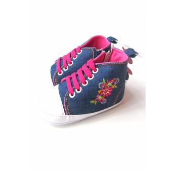 LF Giày cổ cao cho bé Luvable Friends Luxurious Embroidery 6-12 tháng - Denim