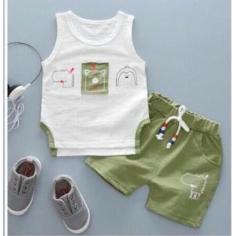 Bộ quần áo bé trai ( trắng xanh lá )
