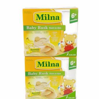 Bộ 2 hộp bánh ăn dặm Milna 130g vị chuối cho bé trên 6 tháng tuổi