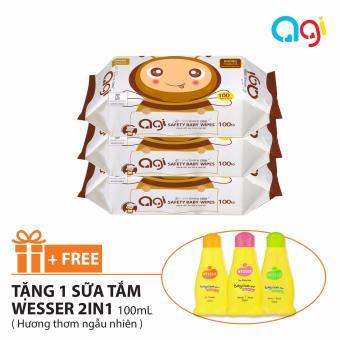 Bộ 3 gói khăn ướt Agi 100 tờ không hương + Tặng chai sữa tắm Wesser 100ml