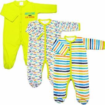 Bộ 3 áo liền quần liền vớ bé trai Baby Gear (Mẫu râu)