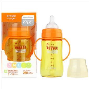 Bình Sữa Cổ Rộng Có Tay Cầm Và Vòi Dẫn Silicone Wesser 260Ml