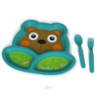 Bộ dĩa + thìa + nĩa tập ăn hình Gấu OOPS (Xanh dương)
