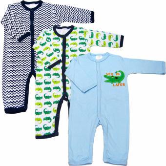 Bộ 3 áo liền quần dài bé trai từ 3 đến 12 tháng Baby Gear (Màu sắc ngẫu nhiên)