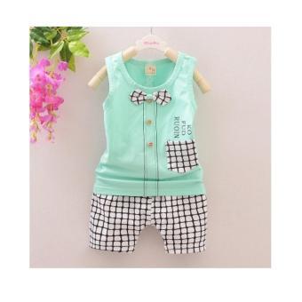 Bộ quần áo cộc tay đính nơ caro cho bé NTKIDS-063 (size 80cm)