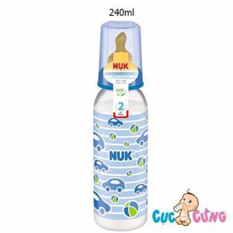 Bình sữa Nuk nhựa ty cao su cổ thường 240ml - Xanh dương
