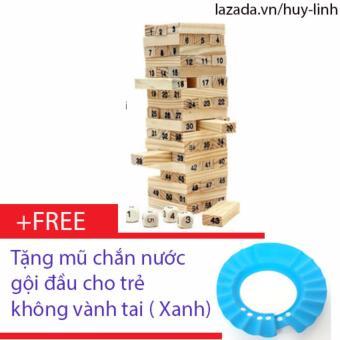 Bộ đồ chơi rút gỗ 54 thanh mini + Free mũ chắn nước gội đầu không vành tai cho trẻ ( Xanh dương )
