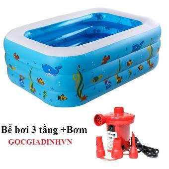 Bể bơi phao 3 tầng cho bé GocgiadinhVN +Bơm điện (xanh dương)