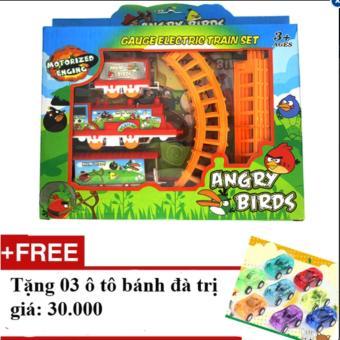 Bộ đồ chơi xếp hình tàu hoả Angry Birds + Tặng 03 ô tô bánh đà