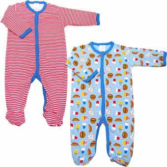 Bộ 2 áo liền quần liền tất bé trai Baby Gear (Mẫu khoai tây 23)