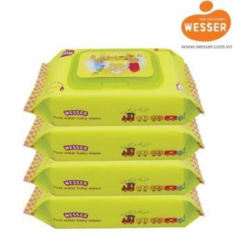Bộ 4 gói khăn ướt Wesser 80tờ (Xanh)