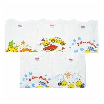 Bộ 5 áo Cotton cài vai tay dài trắng 1-2 tuổi (Trắng)