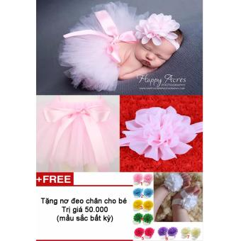 Bộ băng đô và váy chụp ảnh cho bé (Hồng nhạt) + Tặng nơ chân màu sắc bất kì