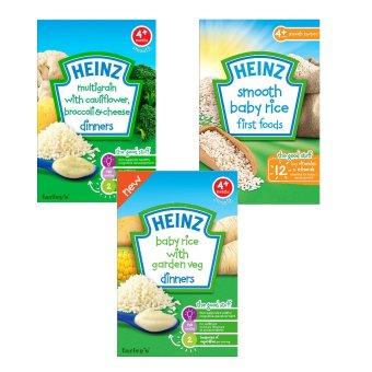 Bộ 1 hộp bột ăn dặm vị ngũ cốc + 1 hộp bột ăn dặm vị gạo + 1 hộp bột ăn dặm vị gạo với rau củ Heinz