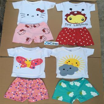 Set 4 bộ quần áo cho trẻ 100 % cotton Size 1 (4-7kg) hàng Việt Nam mẫu XK