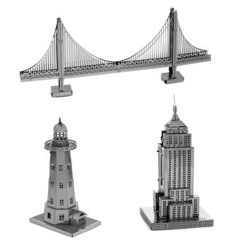 Bộ 3 xếp hình 3D kim loại CẦU SUNDIAL + Toà nhà CHRYSLER + Ngọn hải đăng ALEXANDER