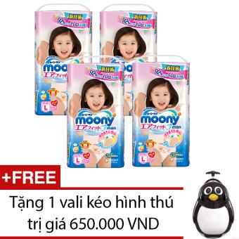 Bộ 4 gói tã quần Moony L44 (Girl) + Tặng 1 vali kéo hình thú trị giá 650.000 VND