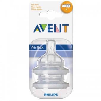Bộ 2 chiếc núm ty thay thế Avent Silicone dành cho trẻ từ 6 tháng tuổi 4 lỗ