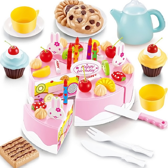 DIY Cutting Fruit Birthday Cake Food Play Toy Set for Kids Children Babies