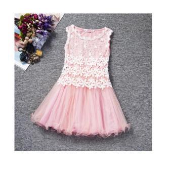 Đầm xòe bé gái viền ren kết hợp vải voan NTKIDS-104 hồng (size 100cm)
