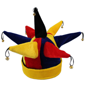 Funny Multicolor Jester Clown Hat for Halloween Christmas Mardi Gras Party Costume Props - intl