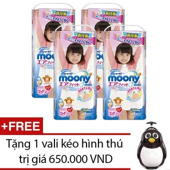 Bộ 4 gói tã quần Moony XL38 (Girl) + Tặng 1 vali kéo hình thú trị giá 650.000 VND
