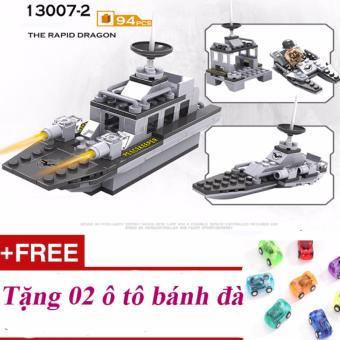 Bộ lắp ghép xếp hình tàu chiến 94 chi tiết + Tặng 02 ô tô bánh đà