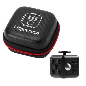 Mini Portable Fashion 1.3inches Fidget Cube Relieves Stress Anxiety 6-sides Desk Toy with Storage Bag for Children Adults Anxiety Attention Black - intl