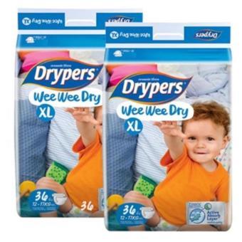 Bộ 2 tã dán Drypers Wee Wee Dry XL.36 (12-17kg )