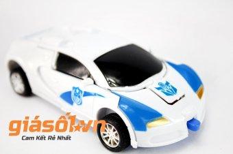 Đồ chơi ô tô mini biến hình thành Robot (Xanh phối trắng)